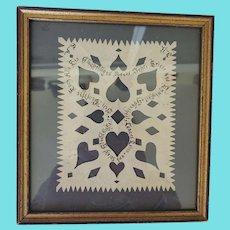 Rare Antique PA. Folk Art Scherenschnitte w/ Hearts, German Message, & Pinprick Designs