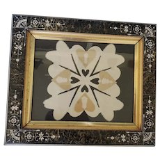 Antique Victorian Folk Art Paper Cut Love Token in Aesthetic Frame