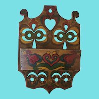 Late 19th C. PA. Folk Art Painted Wall Hanging Candle Box w/Hearts & Flowers