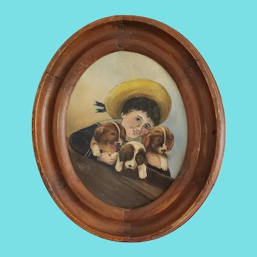 Antique Victorian Folk Art Oil Painting of Young Boy in Sailor Suit & 3 Puppies