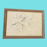 Vintage Signed & Dated Folk Art Spencerian Calligraphy Drawing of Oriole Bird