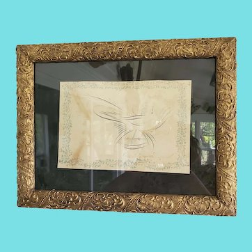 Antique Dated 1880 3-Color Spencerian Calligraphy Drawing of Bird & Ship at Sea