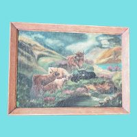 Vintage 1930's Folk Art Painting of Cattle & Calves in the Mountains