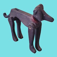 Vintage PA. Folk Art Fully Articulated Painted Wooden Dog