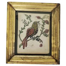 Diminutive Antique PA. Folk Art Fraktur of Fanciful Bird with Worm