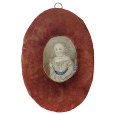 Antique 19th C. Folk Art Portrait of Young Child in Homemade Velvet Frame