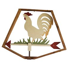 Vintage Primitive Wooden Folk Art Chicken Weathervane