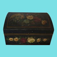 Antique Folk Art Tole Painted Tin Box w/Flowers and Bird of Paradise