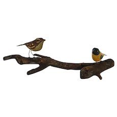 pair Vintage PA. Painted Folk Art Birds on Tree Branch
