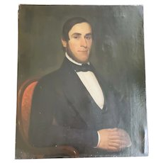 "Large 30"" x 25"" Early to Mid 19th C. Folk Art Oil Portrait of Distinguished Gentleman"