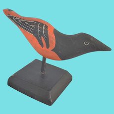 Vintage Signed & Dated Naive Folk Art Baltimore Oriole Bird Carving