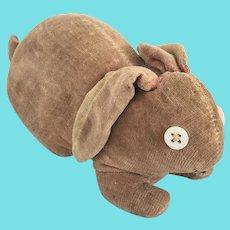 Antique Ca. 1900 Amish Folk Art Velveteen Bunny Rabbit Stuffed Toy