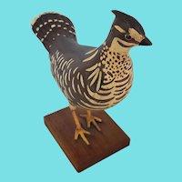 Vintage Folk Art Carved & Painted Prairie Hen or Grouse