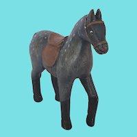 Vintage Naive Folk Art Carved & Painted Dapple Gray Horse