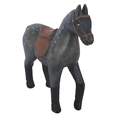 Vintage Naive Folk Art Carved & Painted Dapple Gray Horse