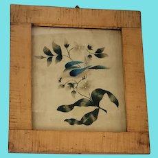 19th C. PA. Folk Art Theorem of Bird & Flowers in Tiger Maple Frame