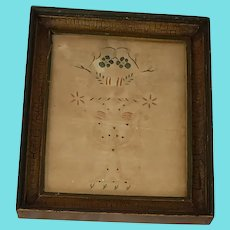 19th C. PA. Folk Art Pinprick & Watercolor Picture of Urn with Birds, Hearts & Flowers