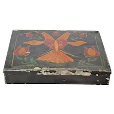 Antique PA. Folk Art Tole Painted Tin Box w/Double Headed Eagle, Heart, Tulips