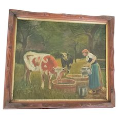 Late 19th C. European Folk Art Oil Painting of Milk Maid & Cows
