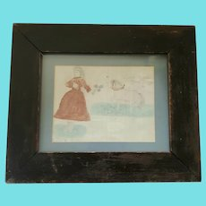 "Antique Signed "" Fannie Wrench"" Dated 1884 Naive Folk Art Drawing of Girl & Horse"