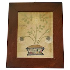 19th C. Folk Art Cut Silk & Paper Picture of Vase of Flowers w/Dragonfly