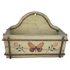 19th C. Folk Tramp Art Wall Box w/Butterfly & Flowers from Noted Collection