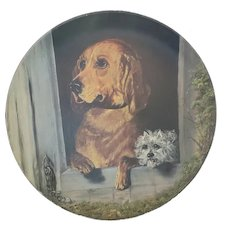 Antique Folk Art Oil Portrait of 2 Dogs in Doghouse