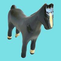 Vintage Primitive Folk Art Black & White Painted Horse Carving