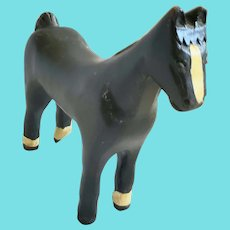 Vintage Primitive Folk Art Black & White Painted Horse Carving