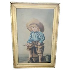 Antique Victorian Folk Art Oil Painting of Young Boy Fishing