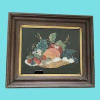 Antique Folk Art Reverse Painting of Basket of Fruit