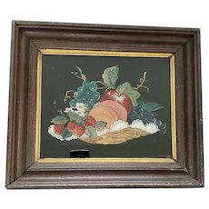 Antique Folk Art Reverse Painting of Basket of Fruit