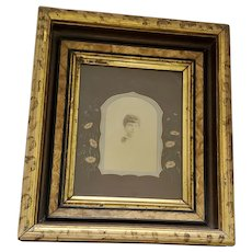 Antique 19th C. Victorian Photo of Woman in Gorgeous Faux Painted Frame