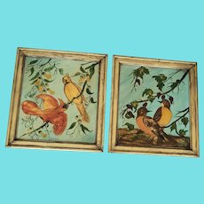 Whimsical Pair Vintage Naive Folk Art Bird Oil Paintings - Cardinals & Robins
