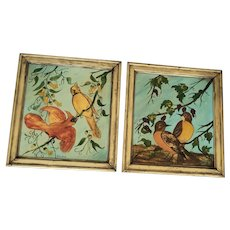 Whimsical Pair Vintage Naive Folk Art Bird Oil Paintings - Cardinals & Robins