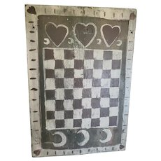 Vintage ca. 1930 Primitive Lancaster Co. PA. Folk Art Gameboard w/Hearts & Crescent Moons