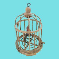 Vintage Folk Art Painted Bird w/Heart Wings in Birdcage from my Collection