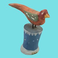 Small Vintage Primitive Lancaster Co. PA. Folk Art Bird on Pedestal Carving