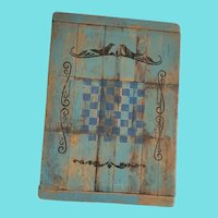 Vintage Folk Art Painted Game Board with Bird Design