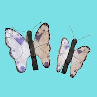 Pair of Vintage Wall Hung Folk Art Fancifully Painted Pink & Purple Butterflies