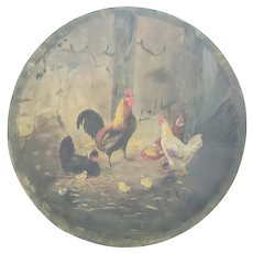 Antique Folk Art Oil on Papier Mache Painting of Chickens & Chicks