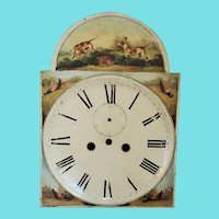 19th C. Folk Art Painted Clock Face with Dogs, Rabbit, & Pheasants