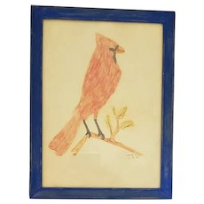 Vintage Naive Folk Art Drawing of Cardinal from my Collection