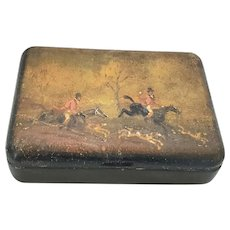 Antique Tobacco Snuff Box with Hand Painted Fox Hunting Scene