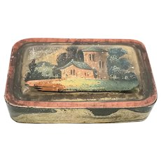 Antique Tobacco Snuff Box with Hand Painted Landscape Scene