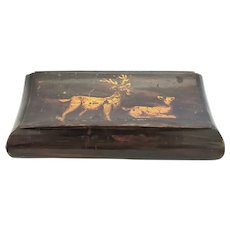 Antique Tobacco Snuff Box with Hand Painted Male & Female Deer