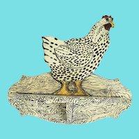 Vintage Naive Folk Art Chicken Design Hanging Shelf #2