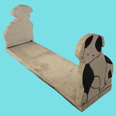 Vintage Naive Folk Art Black & White Dog Book Rack