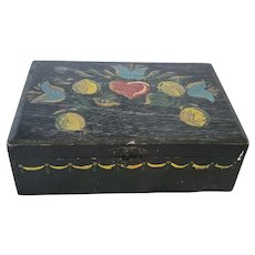 Vintage Folk Art Tole Painted Box with Tulips, Fruit, & Heart