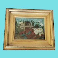 Antique Signed 1878 Victorian Watercolor Basket of Raspberries and Waterlilies
